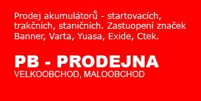 PB-Prodejna Akumulátory Uhříněves - Autobaterie, Motobaterie, trakční baterie značek Banner, Varta.